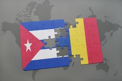 Puzzle with the national flag of cuba and romania on a world map background. 3D illustration royalty free stock images
