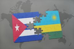 Puzzle with the national flag of cuba and rwanda on a world map background. 3D illustration royalty free stock photo