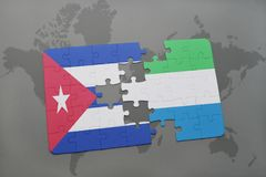 Puzzle with the national flag of cuba and sierra leone on a world map background. 3D illustration royalty free stock image