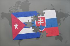 Puzzle with the national flag of cuba and slovakia on a world map background. 3D illustration stock images