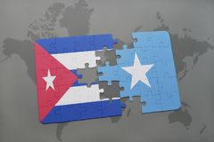 Puzzle with the national flag of cuba and somalia on a world map background. 3D illustration stock photo