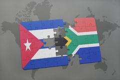 Puzzle with the national flag of cuba and south africa on a world map background. 3D illustration royalty free stock photos