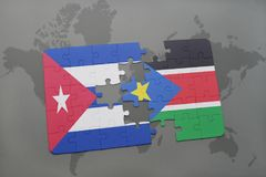 Puzzle with the national flag of cuba and south sudan on a world map background. 3D illustration stock image