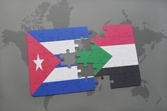 Puzzle with the national flag of cuba and sudan on a world map background. 3D illustration royalty free stock photos