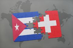 Puzzle with the national flag of cuba and switzerland on a world map background. 3D illustration stock photography