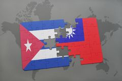 Puzzle with the national flag of cuba and taiwan on a world map background. 3D illustration royalty free stock images