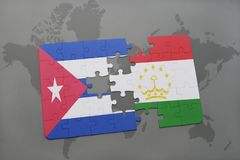 Puzzle with the national flag of cuba and tajikistan on a world map background. 3D illustration royalty free stock image