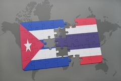 Puzzle with the national flag of cuba and thailand on a world map background. 3D illustration royalty free stock images