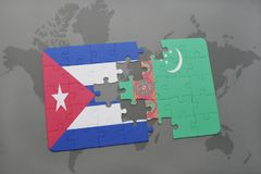 Puzzle with the national flag of cuba and turkmenistan on a world map background. 3D illustration stock photos