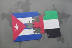 Puzzle with the national flag of cuba and united arab emirates on a world map background. 3D illustration royalty free stock image