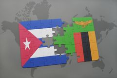 Puzzle with the national flag of cuba and zambia on a world map background. 3D illustration stock photos