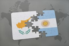 Puzzle with the national flag of cyprus and argentina on a world map Stock Photo