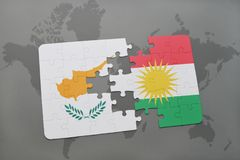 Puzzle with the national flag of cyprus and kurdistan on a world map. Background. 3D illustration Stock Images