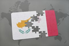 Puzzle with the national flag of cyprus and malta on a world map background. 3D illustration Royalty Free Stock Photography