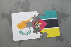 Puzzle with the national flag of cyprus and mozambique on a world map. Background. 3D illustration Stock Photos