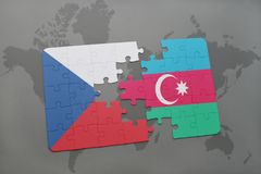 puzzle with the national flag of czech republic and azerbaijan on a world map background. Stock Image