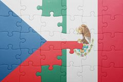 Puzzle with the national flag of czech republic and mexico. Concept royalty free stock photo