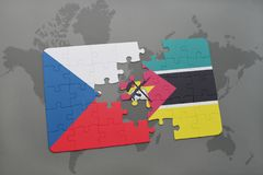 Puzzle with the national flag of czech republic and mozambique on a world map. Background. 3D illustration Royalty Free Stock Image