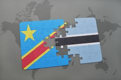 Puzzle with the national flag of democratic republic of the congo and botswana on a world map Stock Images