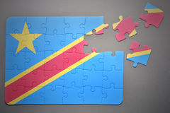 Puzzle with the national flag of democratic republic of the congo Stock Photo