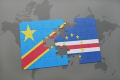 Puzzle with the national flag of democratic republic of the congo and cape verde on a world map Royalty Free Stock Photos