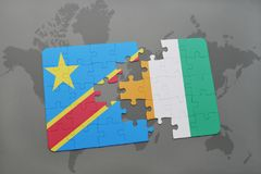 Puzzle with the national flag of democratic republic of the congo and cote divoire on a world map Stock Photos
