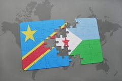 Puzzle with the national flag of democratic republic of the congo and djibouti on a world map Royalty Free Stock Images