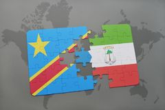 Puzzle with the national flag of democratic republic of the congo and equatorial guinea on a world map Royalty Free Stock Photos