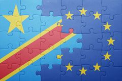 Puzzle with the national flag of democratic republic of the congo and european union Stock Images