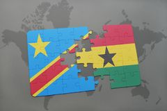 Puzzle with the national flag of democratic republic of the congo and ghana on a world map Royalty Free Stock Photography