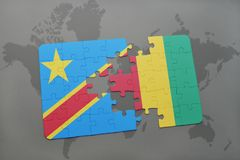 Puzzle with the national flag of democratic republic of the congo and guinea on a world map Stock Images