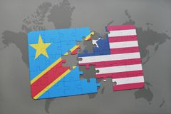 Puzzle with the national flag of democratic republic of the congo and liberia on a world map Stock Images