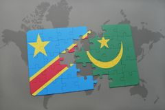Puzzle with the national flag of democratic republic of the congo and mauritania on a world map Royalty Free Stock Images
