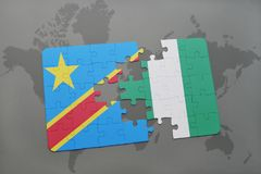 Puzzle with the national flag of democratic republic of the congo and nigeria on a world map Stock Images