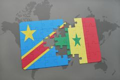 Puzzle with the national flag of democratic republic of the congo and senegal on a world map Royalty Free Stock Image