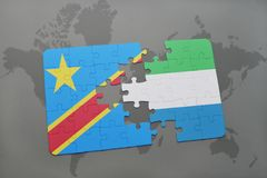 Puzzle with the national flag of democratic republic of the congo and sierra leone on a world map Stock Photo