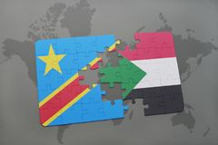 Puzzle with the national flag of democratic republic of the congo and sudan on a world map Stock Images