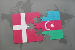 Puzzle with the national flag of denmark and azerbaijan on a world map background. 3D illustration Royalty Free Stock Images