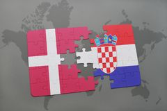 Puzzle with the national flag of denmark and croatia on a world map background. 3D illustration Stock Images