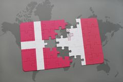 Puzzle with the national flag of denmark and malta on a world map background. 3D illustration Royalty Free Stock Photos