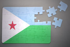 Puzzle with the national flag of djibouti Royalty Free Stock Photography