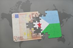 Puzzle with the national flag of djibouti and euro banknote on a world map background. Stock Image