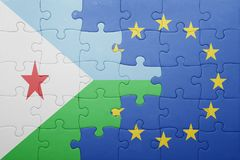 Puzzle with the national flag of djibouti and european union Royalty Free Stock Photography