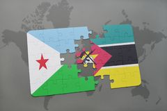 Puzzle with the national flag of djibouti and mozambique on a world map. Background. 3D illustration Royalty Free Stock Photos