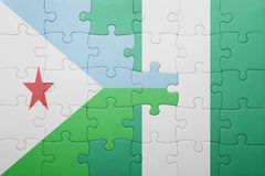 Puzzle with the national flag of djibouti and nigeria Royalty Free Stock Image