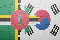 Puzzle with the national flag of dominica and south korea Royalty Free Stock Photography