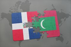 Puzzle with the national flag of dominican republic and maldives on a world map. Background. 3D illustration Stock Photo