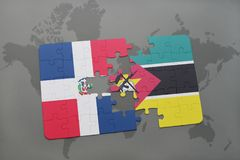 Puzzle with the national flag of dominican republic and mozambique on a world map. Background. 3D illustration Royalty Free Stock Images