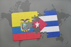 Puzzle with the national flag of ecuador and cuba on a world map background. 3D illustration royalty free stock images