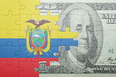 Puzzle with the national flag of ecuador and dollar banknote Stock Photos